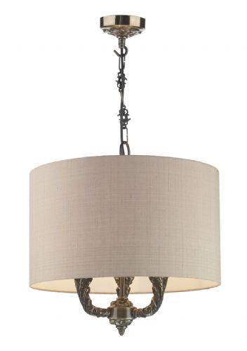 Valerio 3 Light Pendant Bronze complete with Taupe Silk Shade VAL0363